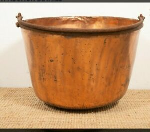 Rare 25 Diameter Copper Apple Butter Kettle Cauldron W Handle Early 1800s Wow