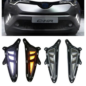 Pair Clear Amber Led Fog Light For 2018 2019 Toyota C hr Drl Turn Signal Lamps