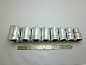 Lot Of 8 Vintage Craftsman 1 2 Drive 12 Point Sockets G V Ee Series Usa Tools