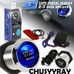 Car Ignition Switch Engine Start Push Button Keyless Entry Starter Kit Led Blue