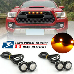 4x Fits Raptor Style Amber Lens Grille Led Lights For Toyota Tacoma 2016 2018