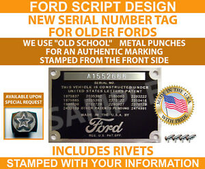 Stamped Ford Model A Data Plate Vin Serial Number Tag 1928 1929 1930 1931 Usa