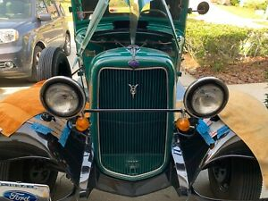 1934 Ford Truck Original Headlights with 6 Volt Sealed Beam Conversion