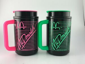 Pair Of Green Pink 1991 VTG McDonald's Coca-Cola Whirley Thermos Travel Mugs