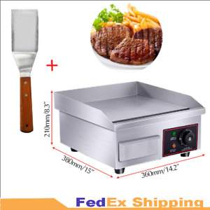 1500w Grill Electric Countertop Griddle Flat Top Commercial Free Spatula Us Ship