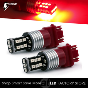 Syneticusa 3157 Led Red Strobe Flash Brake Stop Parking Rear Light Safety Bulbs