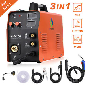 Hitbox Mig Welder 220v 3in1 Gas Gasless Stick Mma Lift Tig Mig Welding Machine