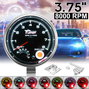 12v Car Truck Auto 3 75 Tachometer Tacho Gauge With Shift Light 0 8000 Rpm