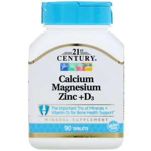 21st Century Calcium Magnesium Zinc D3 90 tablets free same day shipping $7.19