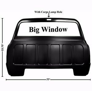 1967 1972 Chevy Pickup Truck Rear Back Outer Cab Panel Big Window W Cargo Lamp
