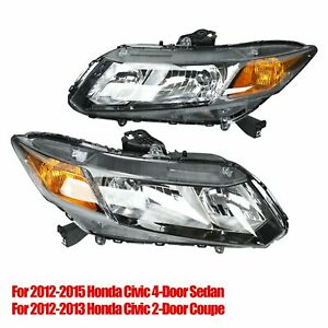 For 2012 2015 Honda Civic Led Projector Headlights Headlamps Assembly Left right