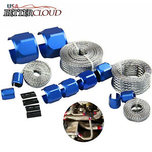 Blue Braided Hose Engine Dress Up Kit Radiator Vacuum Fuel Oil Stainless Steel