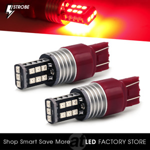 Syneticusa 7443 Red Led Strobe Flash Safety Bright Brake Tail Parking Light Bulb