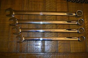 Snap On 4pc 12pt Sae Flank Drive Plus Long Combination Wrench Set Soexl32b soexl