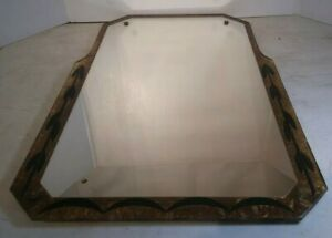 Vintage Art Deco Sky Scrapper Frameless Wall Mirror Glass Gold Accents Rare