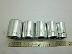 Lot Of 5 Vintage Craftsman 1 2 Drive 12 Point Sockets G V Series Usa Tools