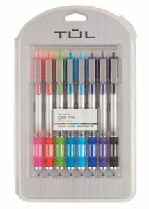 Tul Retractable Gel Pens Needle Point 7mm Med Assorted Bright Ink Colors 8 pack