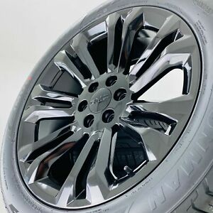 22 Gmc Sierra Yukon Chevy Silverado Tahoe Suburban Black Wheels Rims Tires New