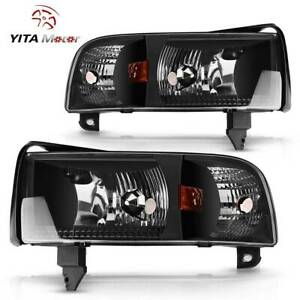 Yitamotor Headlights For 1994 2001 Dodge Ram 1500 2500 3500 Pickup Black Housing
