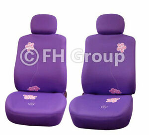 Purple Floral Design Front Bucket Seat Covers For Auto Car Suv Van