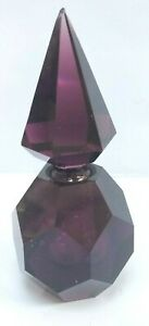 Amethyst Glass Cut Perfume Bottle With Stopper Vintage