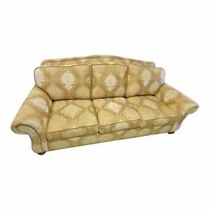 Large Canary Yellow Upholstered Ethan Allen Sofa Rolled Arm Couch Smoke Free