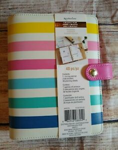 Recollections Creative Striped Personal Binder Planner Agenda New 40 Pcs 6 Ring