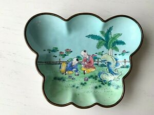 Vintage Brass Painted Enamel Chinese Butterfly Asian Dish Children Playing