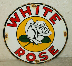 White Rose Gasoline Motor Oil Vintage Style Porcelain Signs Gas Pump Plate