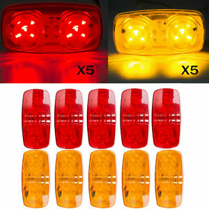 10x Trailer Marker Led Light Double Bullseye 10 Diodes Clearance Lamp Red Amber