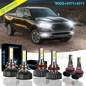 For 2020 Ram 1500 2500 3500 Combo Led Headlight High Low Beam Fog Light 6x Bulbs