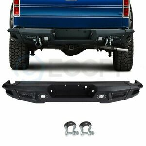 For 2009 2014 Ford F 150 Step Rear Bumper Guard Face Bar Led Lights Textured