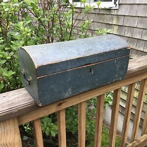 Antique 1800s Dome Top Wood Document Box Weathered Blue Paint Brass Bail Handles