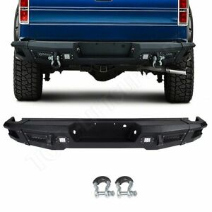 Step Rear Bumper Guard Assembly W Winch For Ford F150 2009 2014 Led Lights