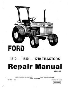 Ford New Holland 1310 1510 1710 Tractor Service Manual