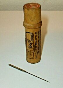 Antique 1 Boys Brand Sewing Machine Needle W Wooden Tube Case Chicago Usa