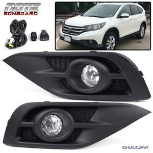 For 2012 2014 Honda Crv Clear Fog Light Bumper Lamps W switch Harness Bezel