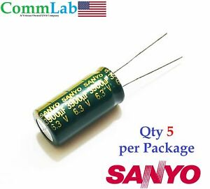 3900uf 6 3v Electrolytic Radial Lead Capacitor By Sanyo 5 Pieces