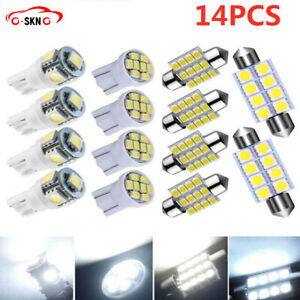 14x Combo Led Car Interior Inside Lights Dome Map Door License Plate Bulbs White