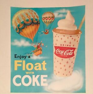 1962 Coca Cola Sign fishtail cup with Straw Coke ice cream Float Sign