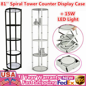 81 Portable Round Spiral Tower Display Case With Shelves Panels 15w Led Light