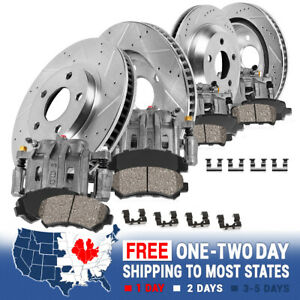 Front And Rear Brake Calipers Rotors Ceramic Pads For 2001 2002 2003 Acura Cl