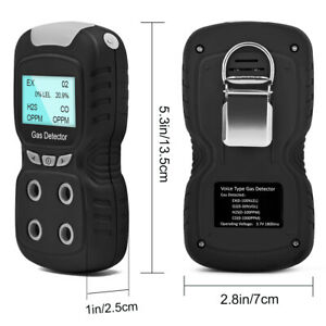 Portable Gas Detector Gas Clip 4 gas Monitor Meter Tester Analyzer Rechargeable
