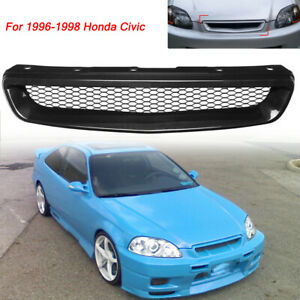 Front Hood Grill Grille Abs Black For 96 98 Honda Civic Ek Jdm Dx Ex Hx Lx T R