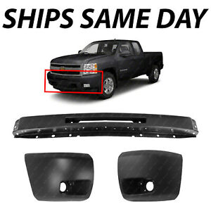New Steel Front Bumper Face Bar Kit For 2007 2013 Chevy Silverado 1500 W Fog