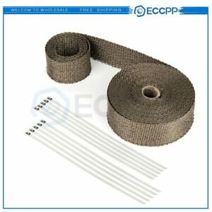 1 Roll Thermal Header Pipe Tape Titanium Exhaust Wrap 2 X 50ft Ties Kit