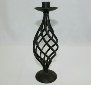 Antique Wrought Iron Spiral Candlestick Candle Holder Pedestal 10 75 Stand