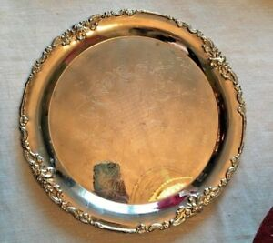12 5 Godinger Silver Plated Round Serving Tray