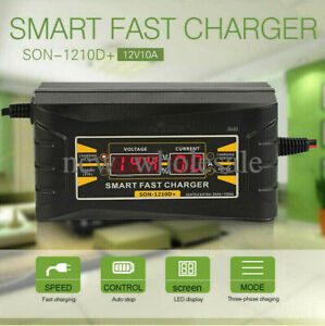 12v 10a Auto Fast Smart Lead Acid Gel Battery Charger For Car Motorcycle Lcd Us