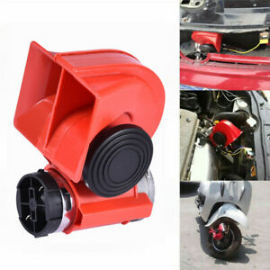 Red Universal Super Loud 12v Twin Auto Machine Air Horn 139db Motorcycle Car